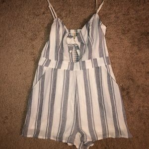Stripped Tie Front Romper